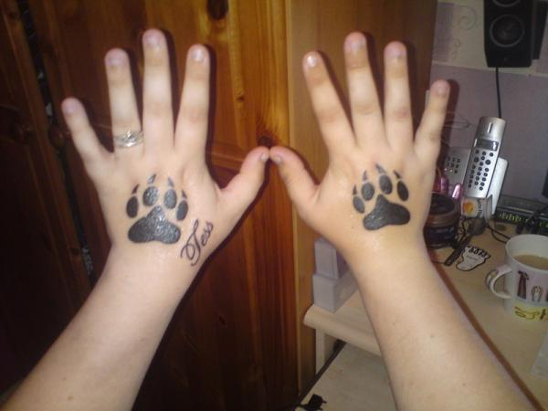 Dog Paw Hand Tattoo