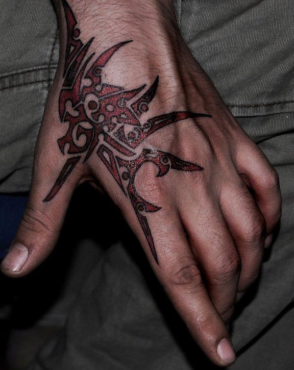 Red Dragon Traditional Hand Tattoo