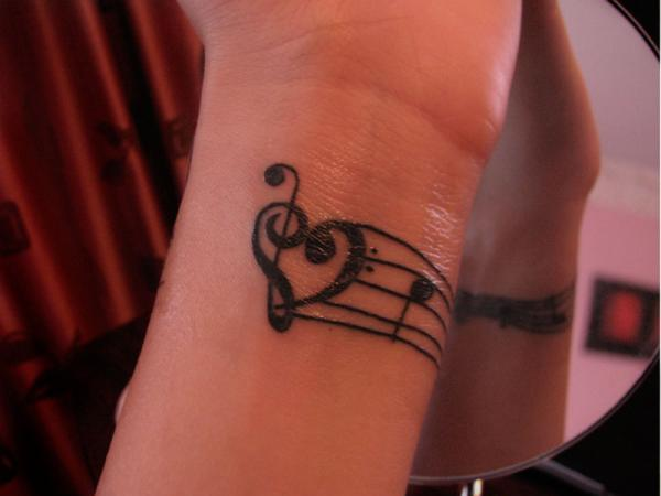 Treble Bass Clef Heart Tattoo