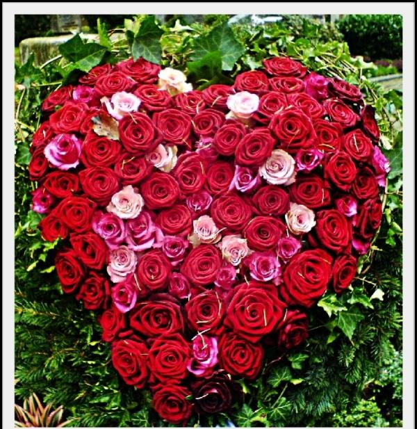 heart bouque of roses 30 Brilliant Pictures of Hearts And Roses