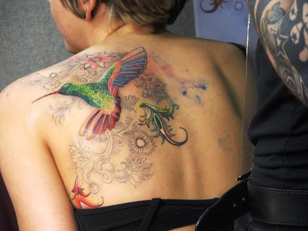 back humming bird 35 Cool Hummingbird Tattoos
