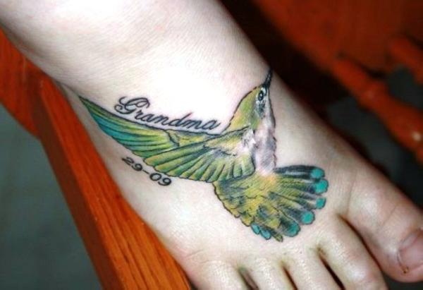 foot tattoo 35 Cool Hummingbird Tattoos