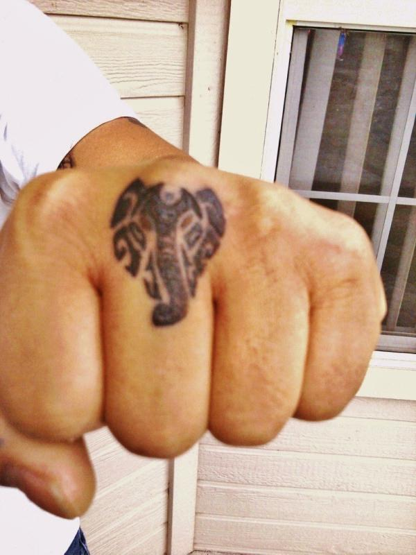 Elephant Face Knuckle Tattoo