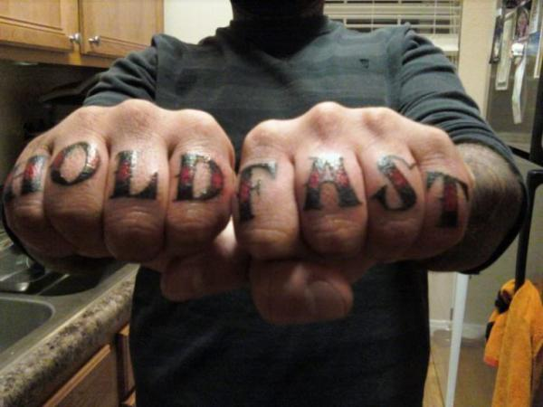 Hold Fast Knuckle Tattoo