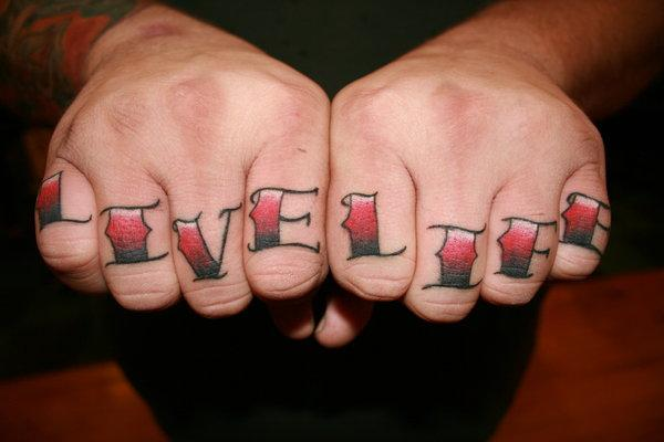 Live Life Knuckle Tattoo