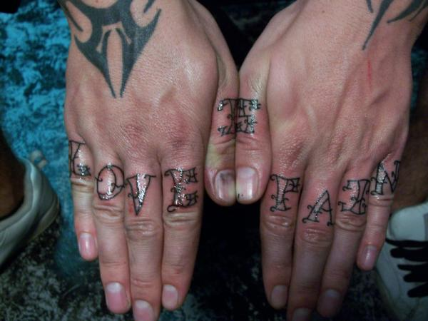 Love Fate Knuckle Tattoo
