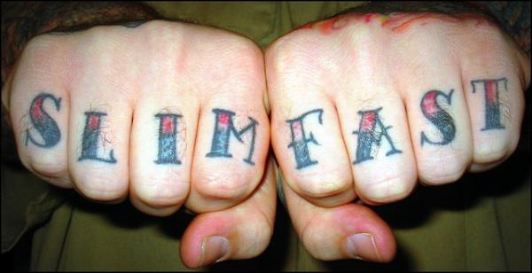 Slim Fast Knuckle Tattoo
