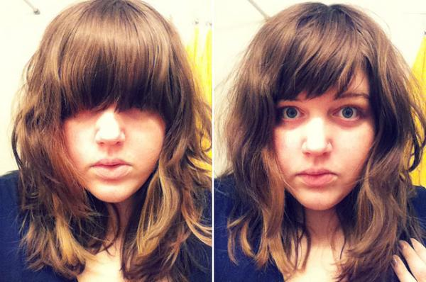 self made 30 Peachy Medium Hairstyles With Bangs