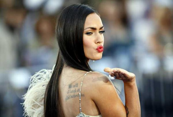 Megan Fox Back Sholder Tattoo