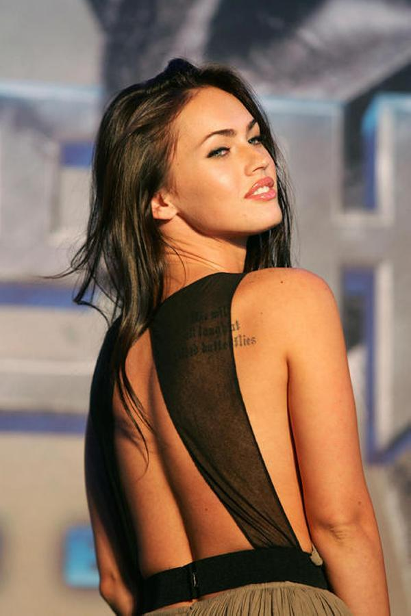 Megan Fox Nice Back Tattoo