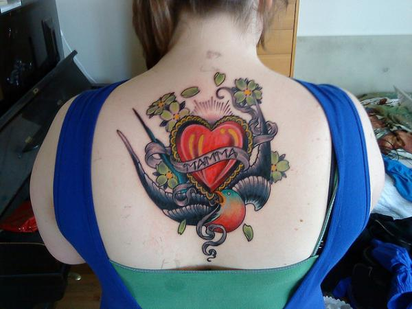 Mom Tattoo On Back Below Neck