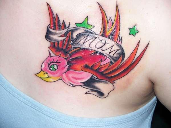 Pink Bird Mom Tattoo