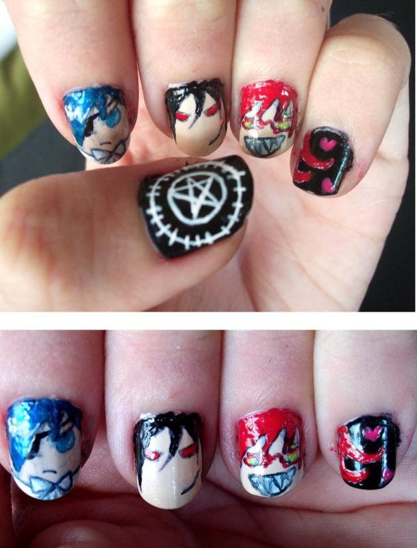 kuroshitsuji nails 35 Beautiful Nail Art Ideas