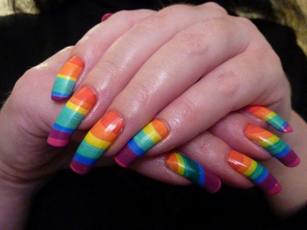 Rainbow On Nails