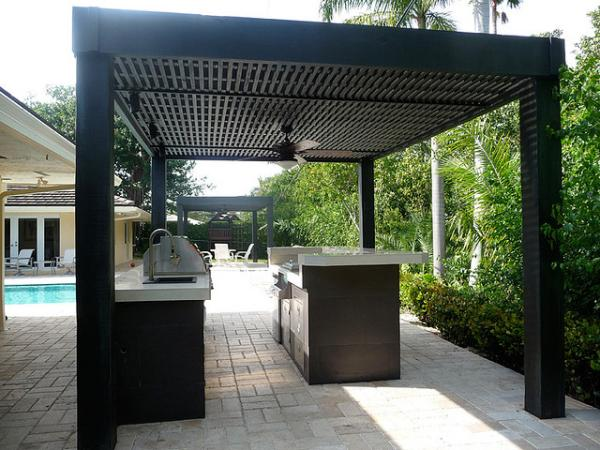 Custom Modern Outdoor Kitchen With Grill