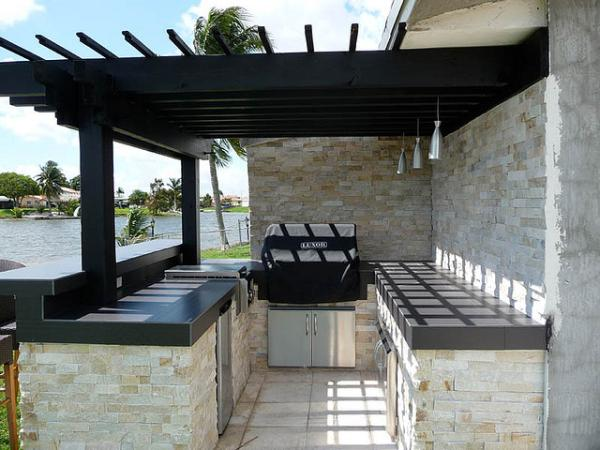 Pergola Stacked Stone Outdoor Kitchen