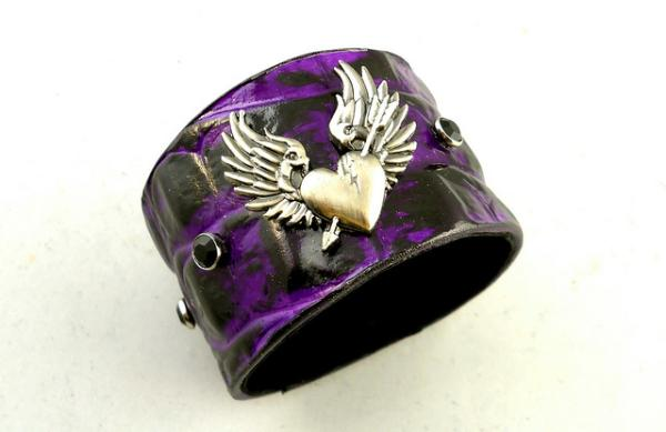 Purple Black Broken Heart Leather Cuff Bracelet