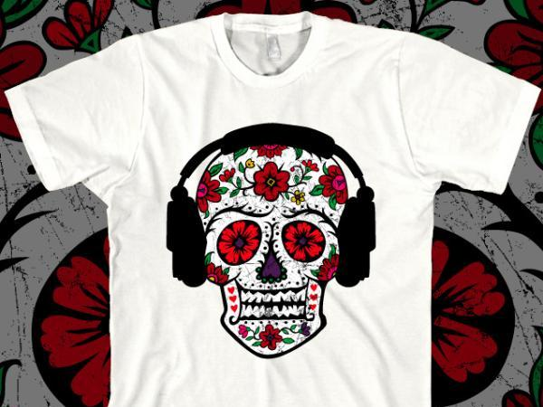 Sugar Skull With Headphones