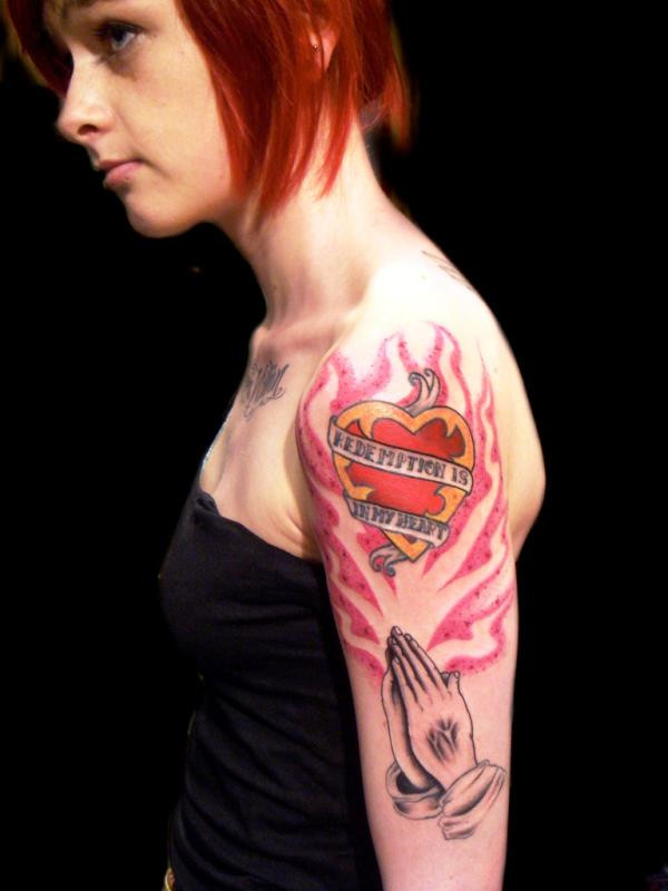 Praying Hands And Sacred Heart Tattoo
