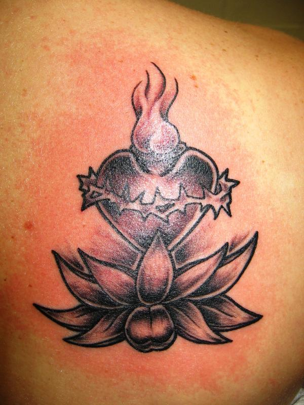 Sacred Heart With Lotus Tattoo