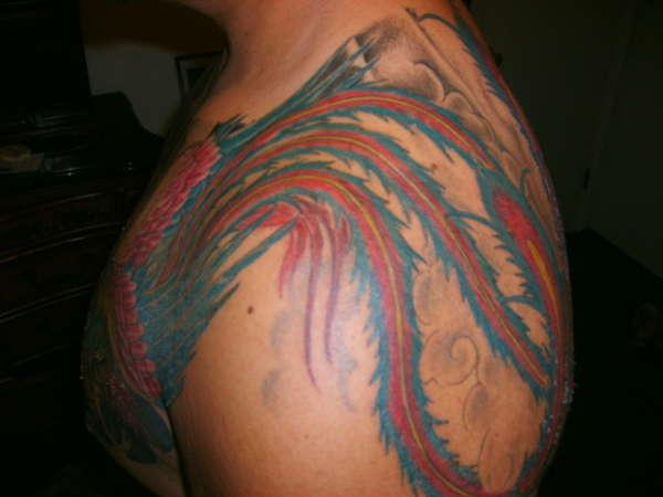 phoenix tale over 30 Marvelous Shoulder Tattoos For Guys