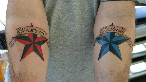 Red And Blue Stars On Hands