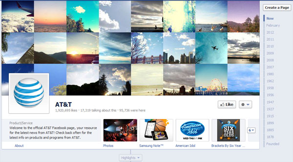 att 40 Creatively Awesome Facebook Timeline As Used By Brands