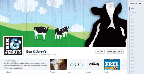 benjerry 40 Creatively Awesome Facebook Timeline As Used By Brands