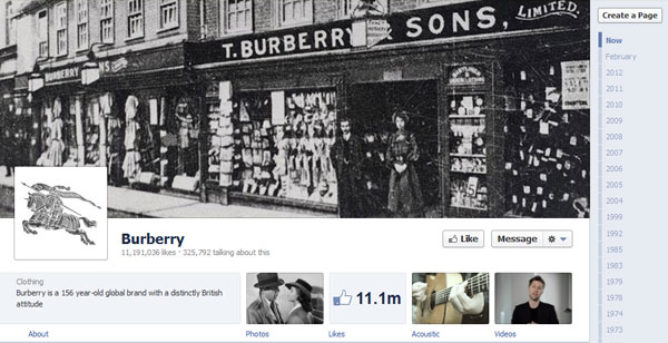 burberry 40 Creatively Awesome Facebook Timeline As Used By Brands