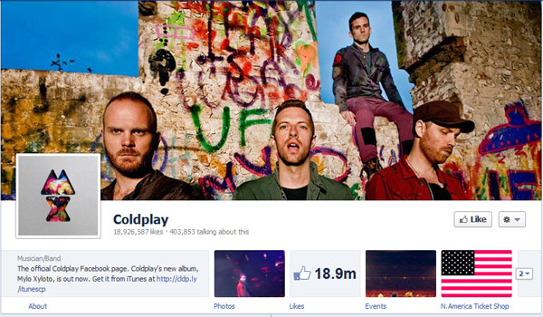 coldplay 40 Creatively Awesome Facebook Timeline As Used By Brands