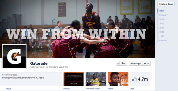 gatorade 40 Creatively Awesome Facebook Timeline As Used By Brands