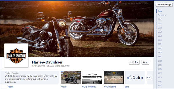 harley davidson 40 Creatively Awesome Facebook Timeline As Used By Brands