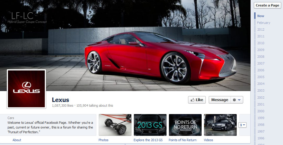 lexus 40 Creatively Awesome Facebook Timeline As Used By Brands