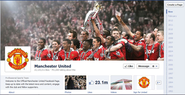 manchesterunited 40 Creatively Awesome Facebook Timeline As Used By Brands