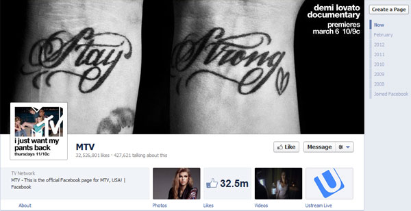 mtv 40 Creatively Awesome Facebook Timeline As Used By Brands