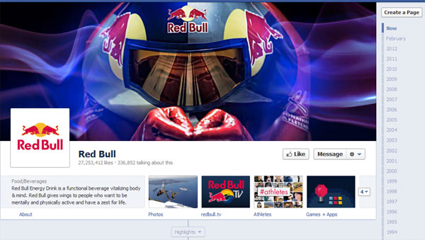 redbull 40 Creatively Awesome Facebook Timeline As Used By Brands