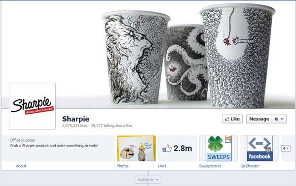 sharpie 40 Creatively Awesome Facebook Timeline As Used By Brands