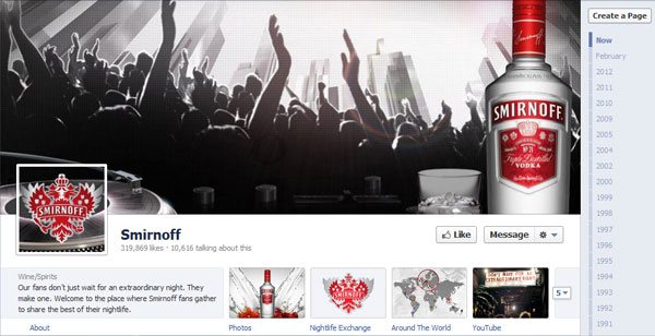 smirnoff 40 Creatively Awesome Facebook Timeline As Used By Brands