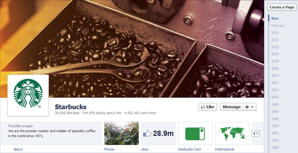 starbucks 40 Creatively Awesome Facebook Timeline As Used By Brands
