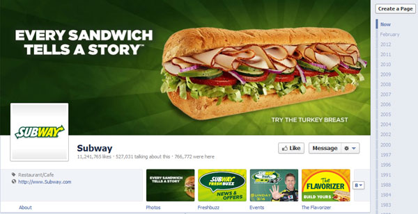 subway 40 Creatively Awesome Facebook Timeline As Used By Brands