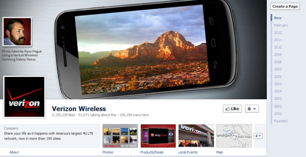 verizon 40 Creatively Awesome Facebook Timeline As Used By Brands