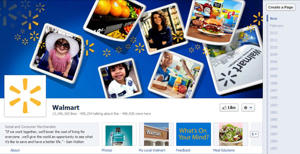 walmart 40 Creatively Awesome Facebook Timeline As Used By Brands