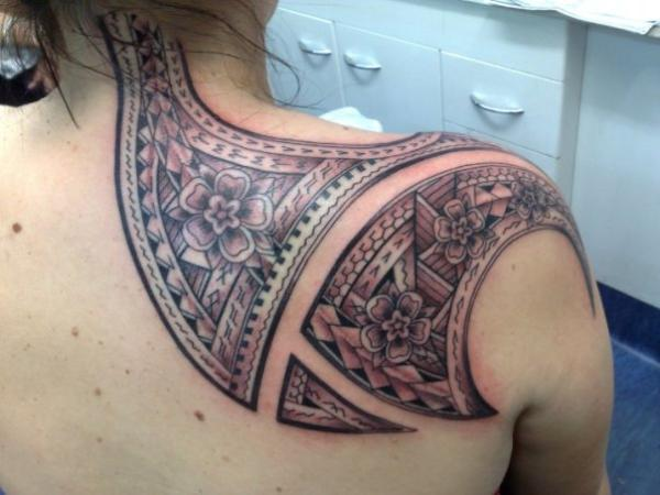 Tribal And Flower Tattoo