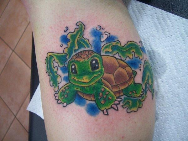 Cutie Green Turtle Tattoo