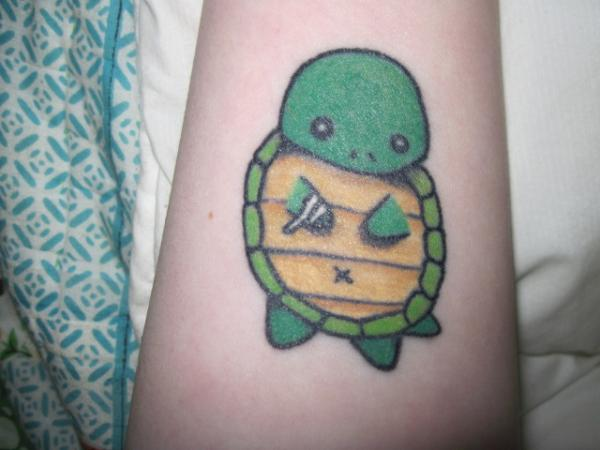 Green Cute Turtle Tattoo