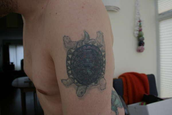 turtle on shoulder 30 Jazzy Turtle Tattoos