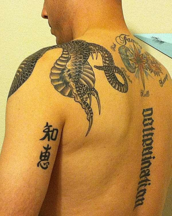 dragon top and rear tattoo 30 Magnificent Upper Back Tattoos