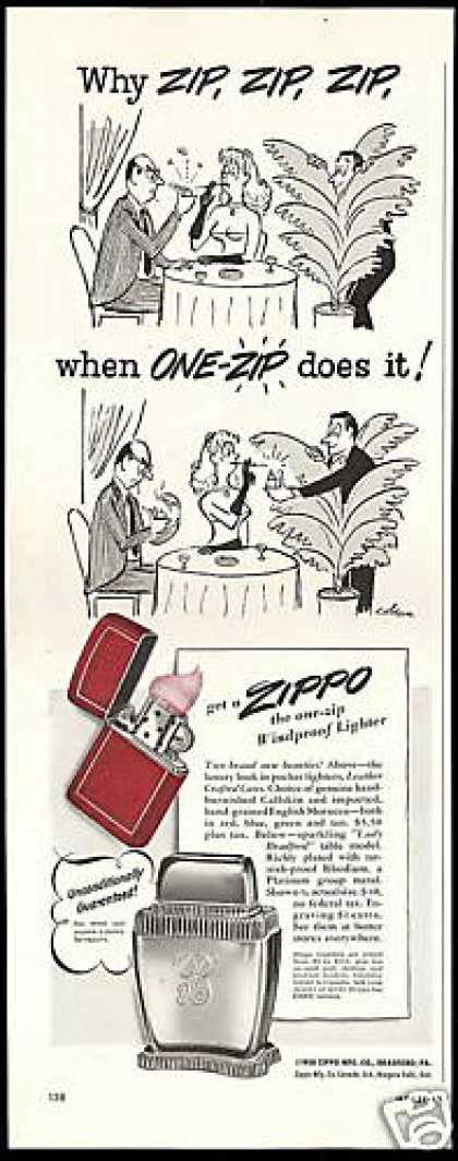 03 zippo One Zip is All it Takes – 21 Zippo Vintage Post war Ads