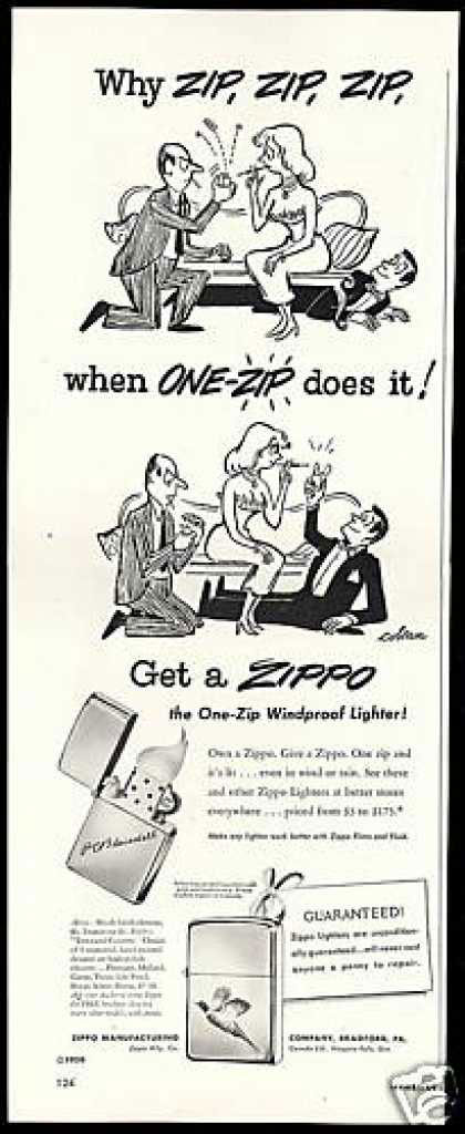 04 zippo One Zip is All it Takes – 21 Zippo Vintage Post war Ads