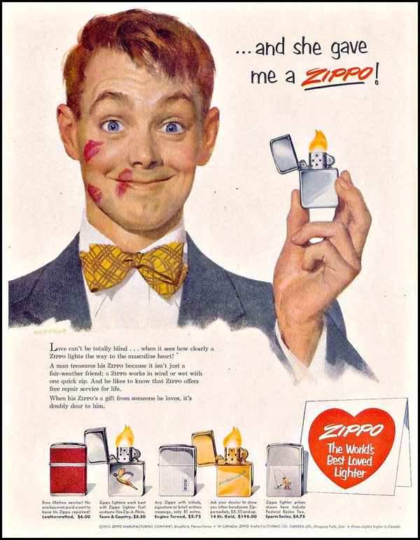 13 zippo One Zip is All it Takes – 21 Zippo Vintage Post war Ads